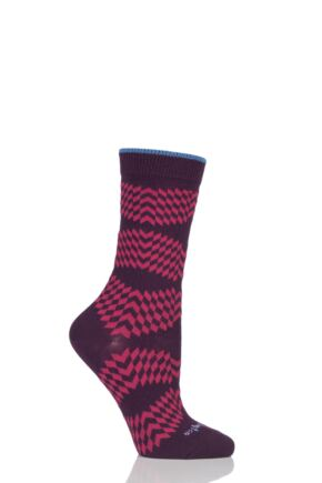 Ladies 1 Pair Burlington Mirror Illusion Cotton Socks Burgundy 36-41