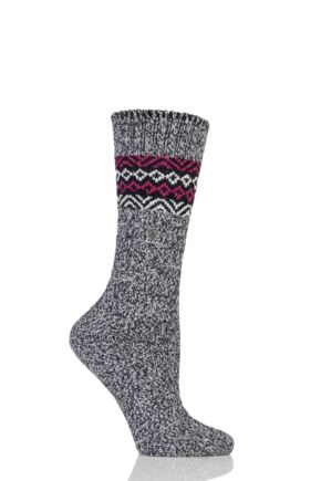 Ladies 1 Pair Burlington Bright Fair Isle Wool Boot Socks Black 2.5-6.5 Ladies