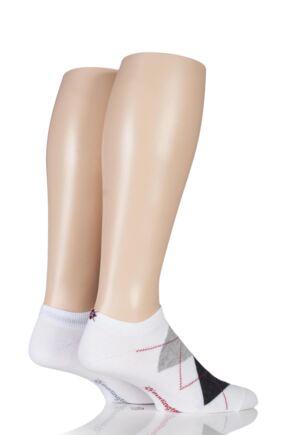 Mens 2 Pair Burlington Everyday Twins Argyle and Plain Cotton Trainer Socks White 6.5-11 Mens