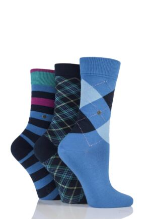 Ladies 3 Pair Burlington Queen Argyle, Selsey Stripe and Fine Argyle Cotton Socks in Gift Box