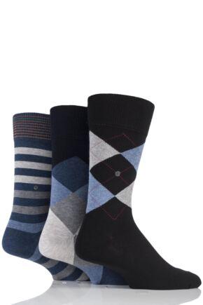 Mens 3 Pair Burlington King Argyle, Clyde Argyle and Blackpool Stripe Cotton Socks in Gift Box Black 6.5-11 Mens