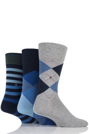 Mens 3 Pair Burlington King Argyle, Clyde Argyle and Blackpool Stripe Cotton Socks in Gift Box Navy 6.5-11 Mens
