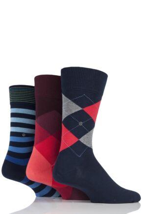 Mens 3 Pair Burlington King Argyle, Clyde Argyle and Blackpool Stripe Cotton Socks in Gift Box Red 6.5-11 Mens