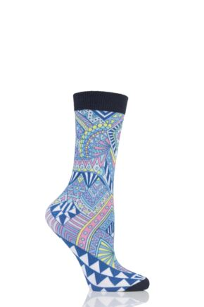 Ladies 1 Pair Burlington Culture Bright Print Cotton Socks
