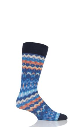 Mens 1 Pair Burlington Blurred Stripe Cotton Socks
