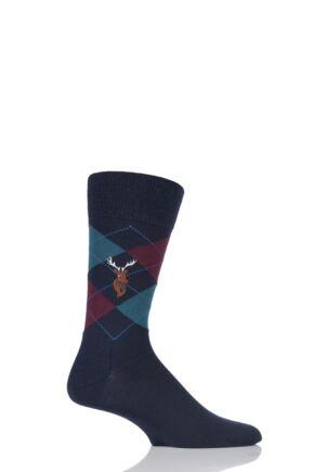 Mens 1 Pair Burlington Edinburgh Reindeer Embroidered Argyle Socks Navy 6.5 - 11 Mens