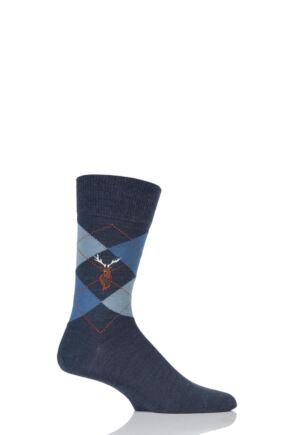 Mens 1 Pair Burlington Edinburgh Reindeer Embroidered Argyle Socks Blue 6.5 - 11 Mens