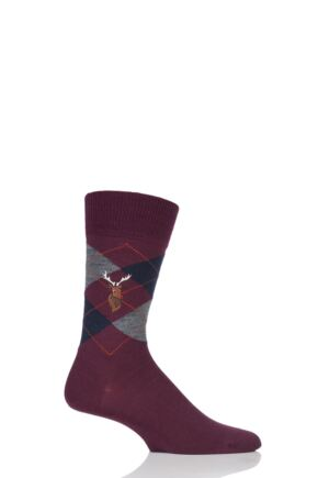 Mens 1 Pair Burlington Edinburgh Reindeer Embroidered Argyle Socks