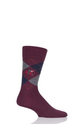 Mens 1 Pair Burlington Edinburgh Ho Ho Ho! Embroidered Argyle Socks Red 6.5 - 11 Mens