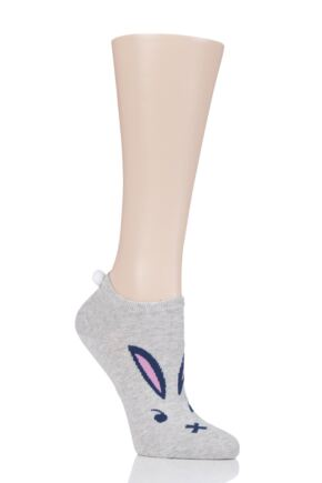 Ladies 1 Pair Burlington Easter Bunny Trainer Socks Grey 3.5-7 Ladies