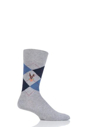 Mens 1 Pair Burlington King Easter Bunny Cotton Socks Grey 6.5 - 11 Mens