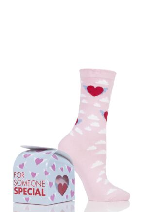 Ladies 1 Pair Burlington Cotton Heart Socks In Gift Box Pink 3.5-7 Ladies