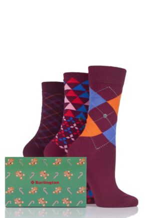 Ladies 3 Pair Burlington Christmas Argyle Mix Cotton Socks In Gift Box Deep Red 3.5-7
