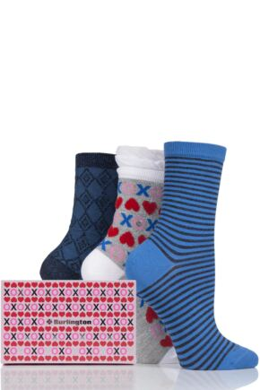 Ladies 3 Pair Burlington Valentines Gift Box Cotton Socks