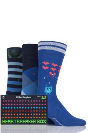 Mens 3 Pair Burlington Heartbreaker Stripes and Argyle Cotton Socks in Gift Box