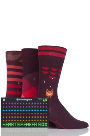 Mens 3 Pair Burlington Heartbreaker Stripes and Argyle Cotton Socks in Gift Box Red 6.5-11 Mens