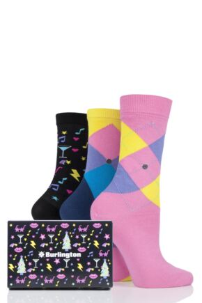 Ladies 3 Pair Burlington Xmas Nights Assorted Socks Gift Box