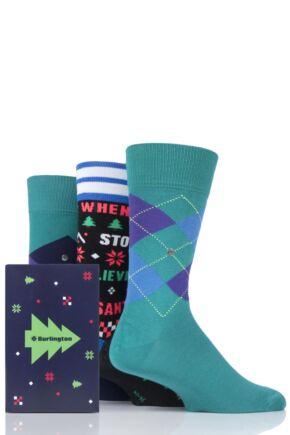 Mens 3 Pair Burlington Christmas Argyle Mixed Cotton Socks In Gift Box