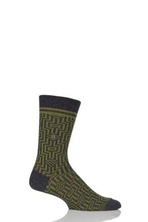 Mens 1 Pair Burlington Illusion Cotton Socks Charcoal 40-46
