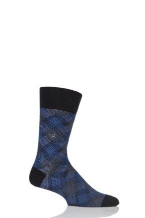 Mens 1 Pair Burlington Pixel Argyle Cotton Socks Black 6.5-11 Mens