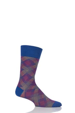 Mens 1 Pair Burlington Pixel Argyle Cotton Socks