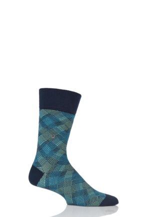 Mens 1 Pair Burlington Pixel Argyle Cotton Socks Marine 6.5-11 Mens