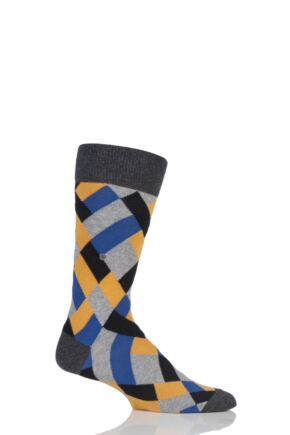 Mens 1 Pair Burlington Geometric Mixed Argyle Socks