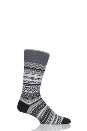 Mens 1 Pair Burlington Fair Isle Virgin Wool Socks
