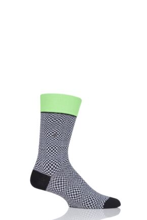 Mens 1 Pair Burlington Checks Illusion Cotton Socks