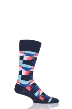 Mens 1 Pair Burlington Painted Check Cotton Socks