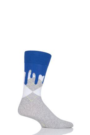 Mens 1 Pair Burlington Argyle Drippy Cotton Socks