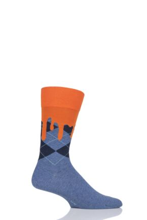 Mens 1 Pair Burlington Argyle Drippy Cotton Socks