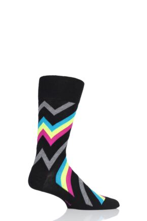 Mens 1 Pair Burlington Zig Zag Stripe Cotton Socks
