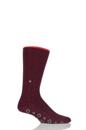 Mens 1 Pair Burlington Ribbed Wool Blend Home Pad Slipper Socks Wine 43-46