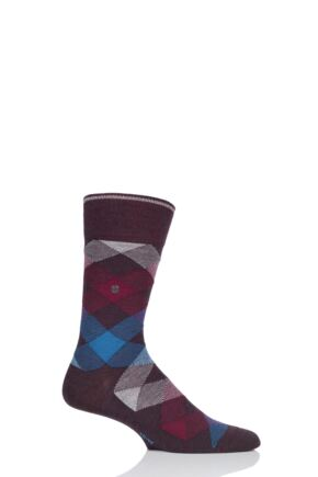Mens 1 Pair Burlington Newcastle Virgin Wool Tartan Socks