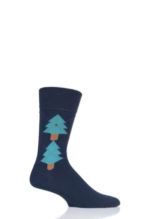 Mens 1 Pair Burlington Christmas Tree Argyle Cotton Socks