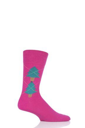 Mens 1 Pair Burlington Christmas Tree Argyle Cotton Socks