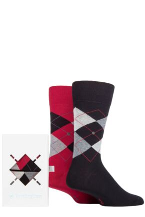 Mens 2 Pair Burlington Argyle Gift Boxed Cotton Socks