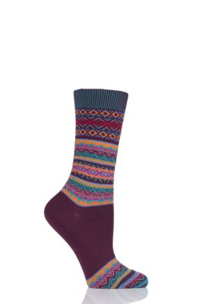 Ladies 1 Pair Burlington Fair Isle Virgin Wool Socks Deep Red 3.5-7 Ladies