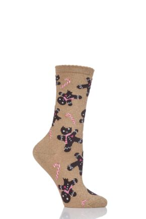 Ladies 1 Pair Burlington Gingerbread Man Cotton Sparkle Socks