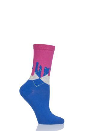 Ladies 1 Pair Burlington Argyle Drippy Cotton Socks