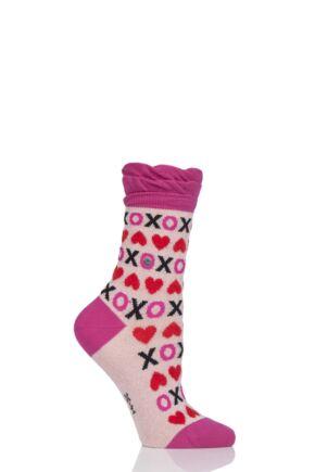 Ladies 1 Pair Burlington XOXO Heart Cotton Socks Pink 2.5-6.5
