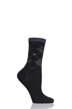 Ladies 1 Pair Burlington Transparent Covent Garden Argyle Cotton Socks
