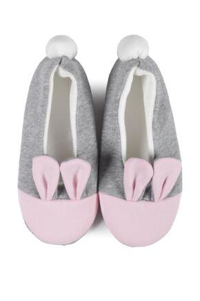 Ladies 1 Pair Burlington Bunny Ears Slippers Grey 7-8 Ladies