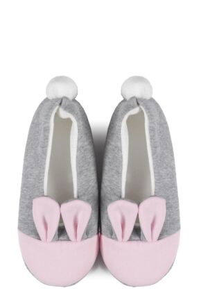 Ladies 1 Pair Burlington Bunny Ears Slippers