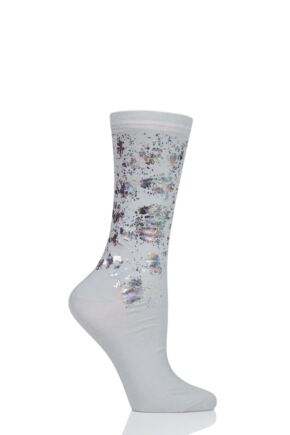 Ladies 1 Pair Burlington Oil Colour Splat Cotton Socks