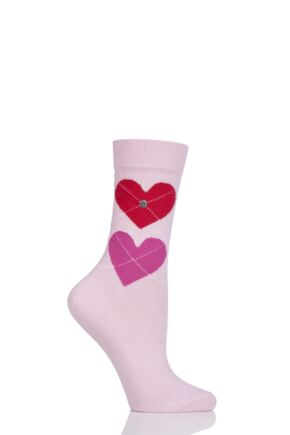 Ladies 1 Pair Burlington Soulmate Heart Cotton Socks Pink 2.5-6.5