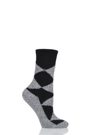 Ladies 1 Pair Burlington Fringes Fluffy Argyle Socks