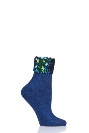 Ladies 1 Pair Burlington Pailletten Sequin Sparkle Cotton Socks