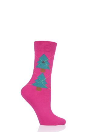 Ladies 1 Pair Burlington Christmas Tree Argyle Cotton Socks